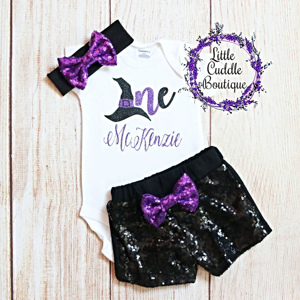 Personalized Witch First Birthday Shorts Outfit