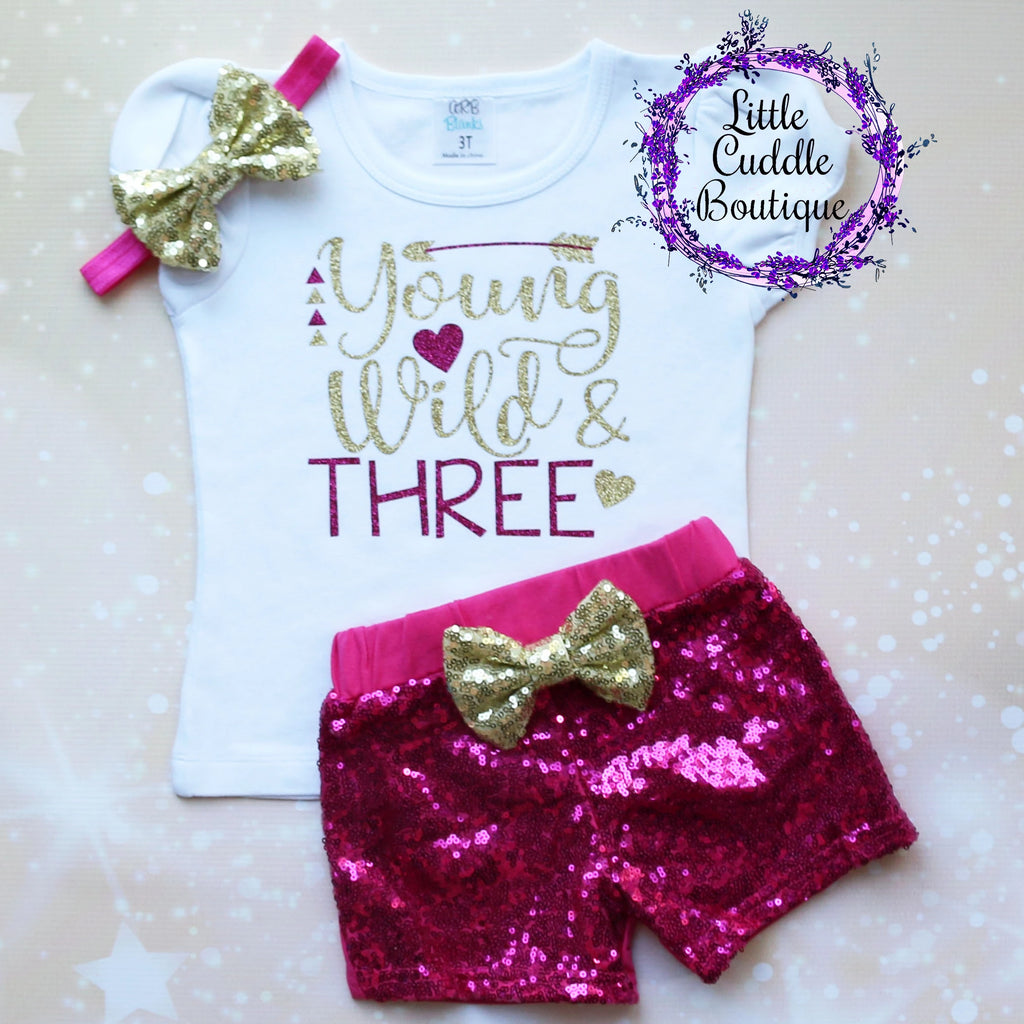 Young Wild And Three Birthday Shorts Outfit