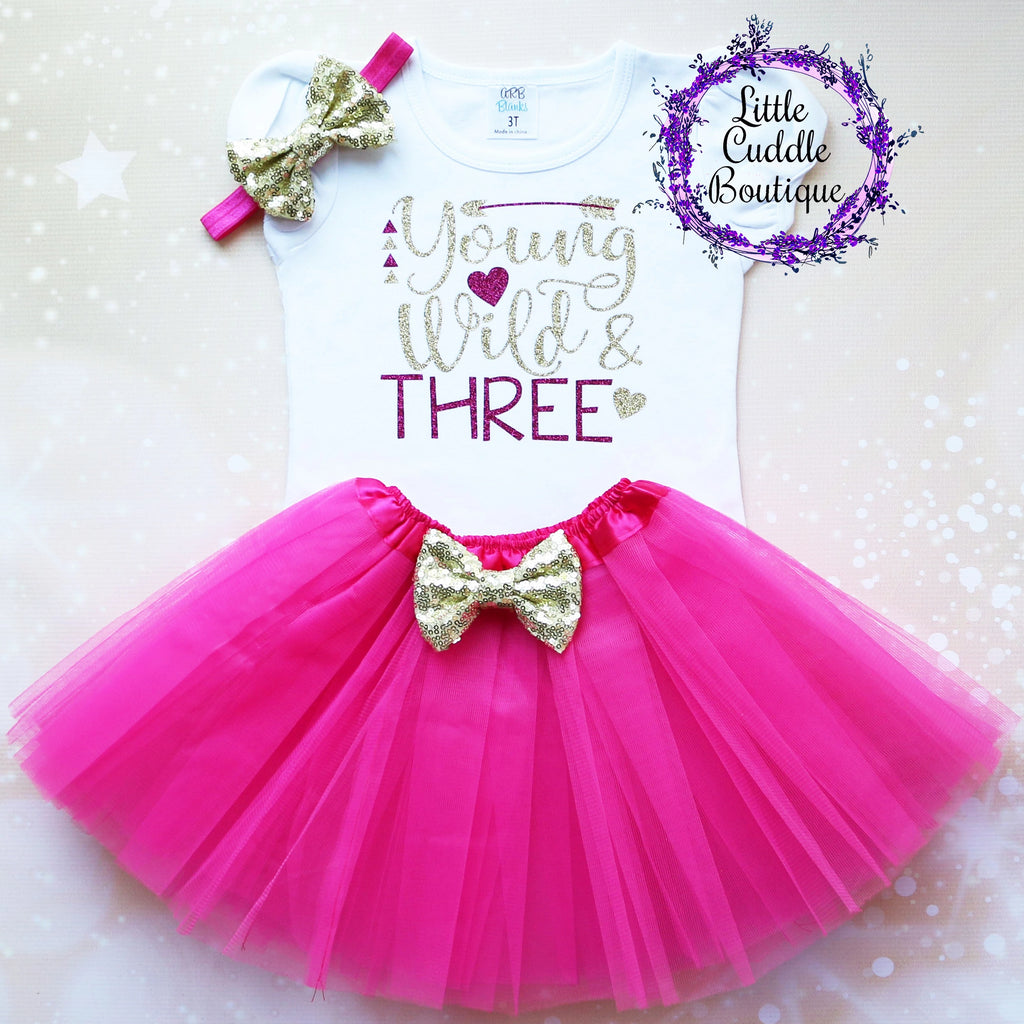 Young Wild And Three Birthday Tutu Outfit