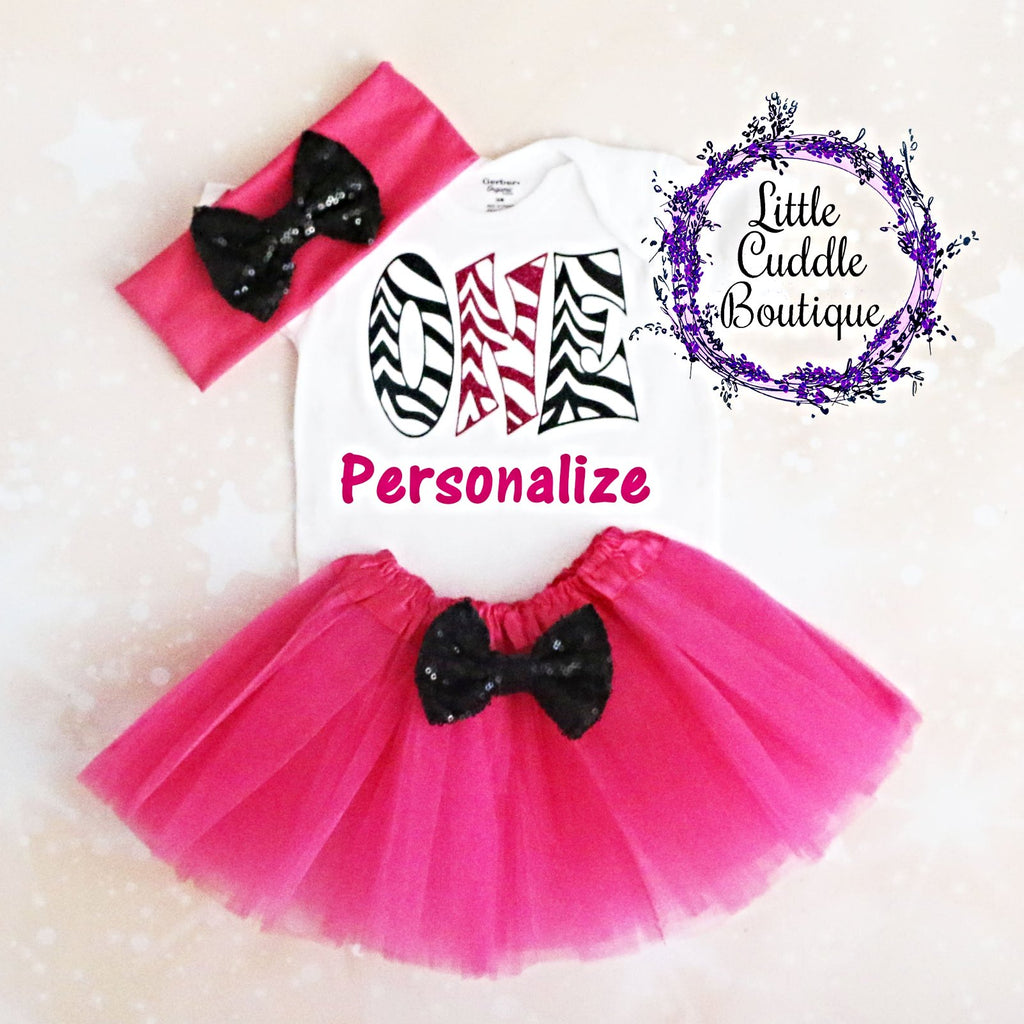 Personalized Zebra Birthday Tutu Outfit