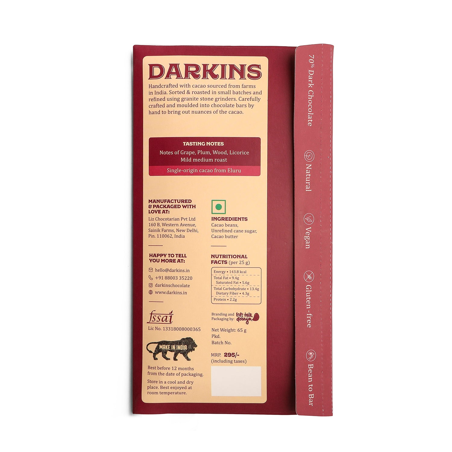 Load image into Gallery viewer, 70% Dark Chocolate- Single Origin cacao from Andhra Pradesh - Darkins Chocolates