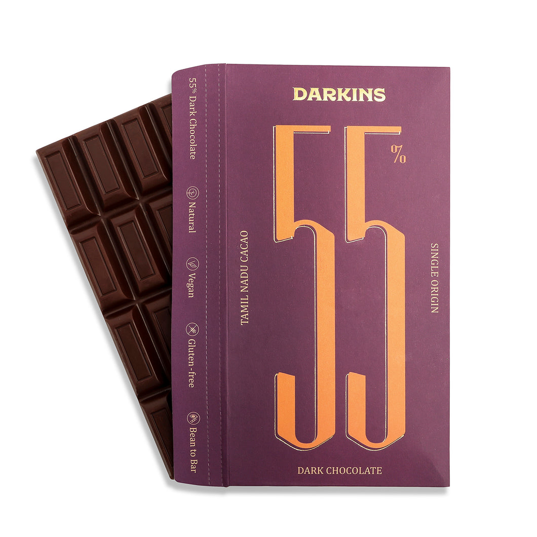 55% Dark Chocolate- Single Origin cacao from Tamil Nadu - Darkins Chocolates