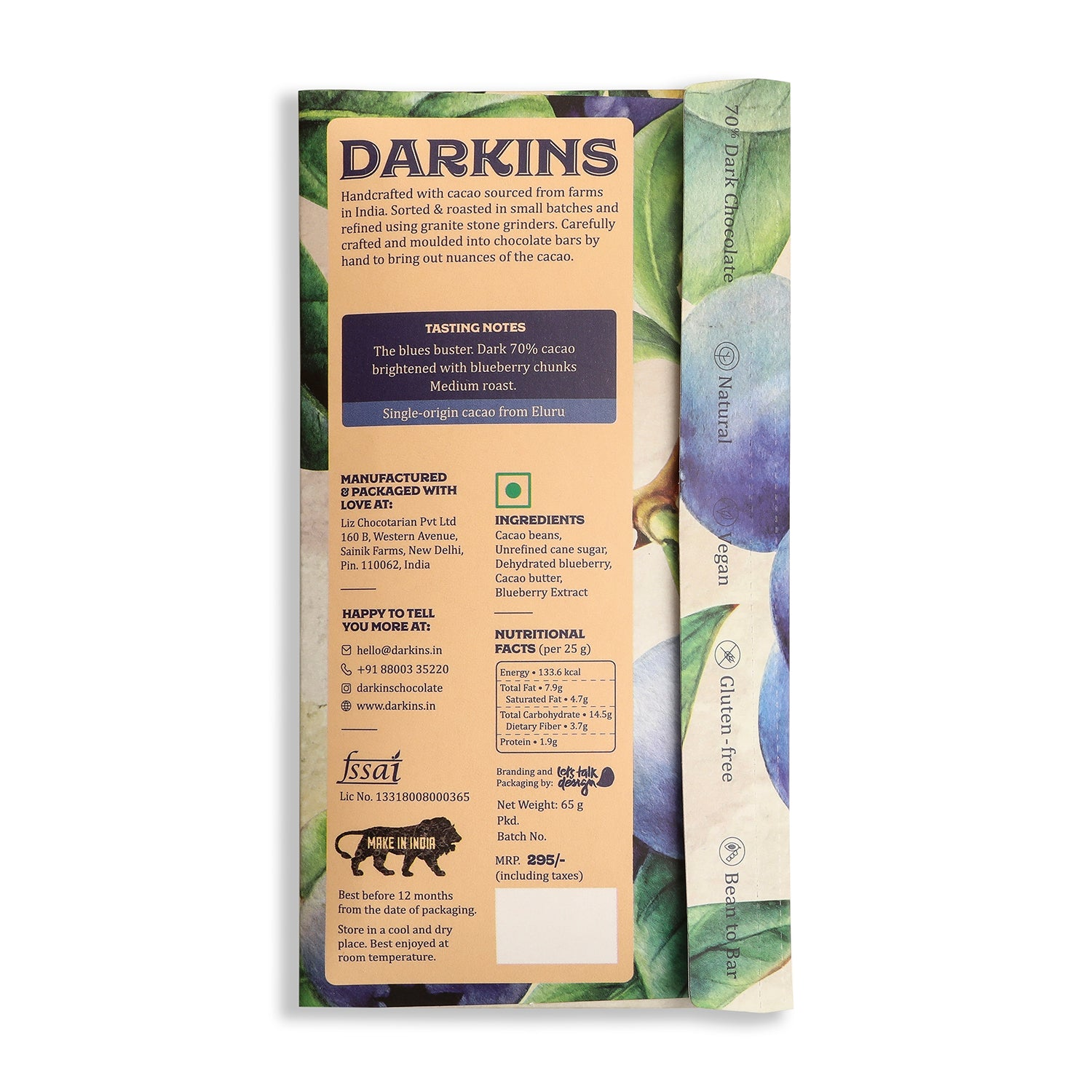 Load image into Gallery viewer, 70% Dark Chocolate with Blueberries - Darkins Chocolates
