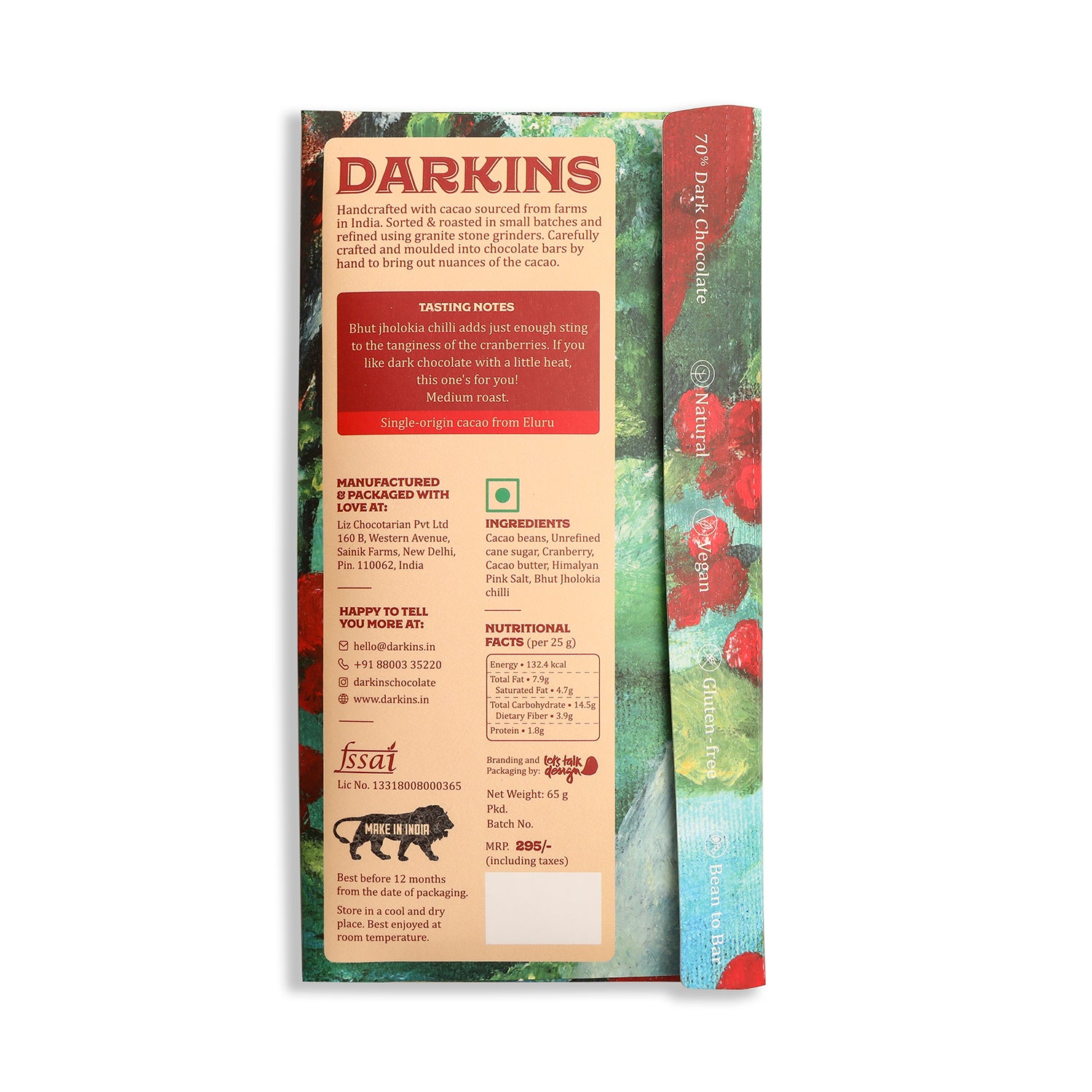 Load image into Gallery viewer, 70% Dark Chocolate with Cranberry & Chilli - Darkins Chocolates