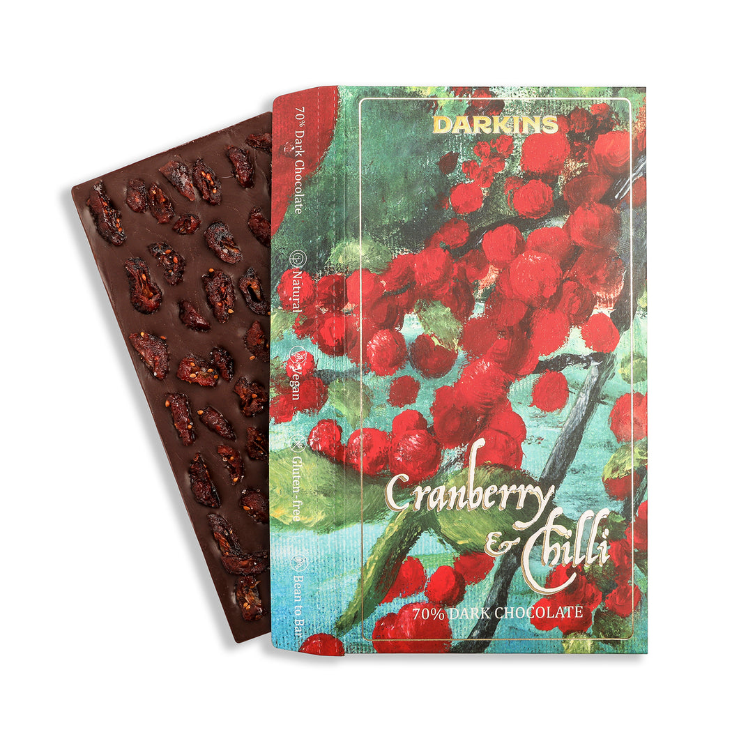 70% Dark Chocolate with Cranberry & Chilli - Darkins Chocolates