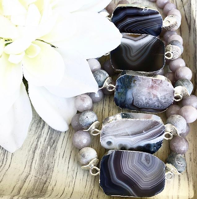 Smoky Galaxy Agate Beaded Bracelet