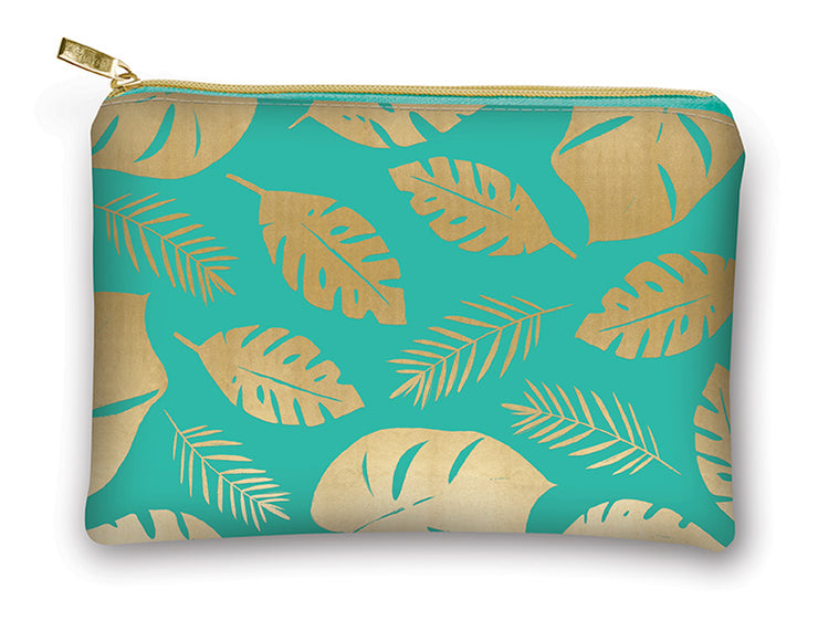 Turquoise Gold Palm Leaf Glam Bag