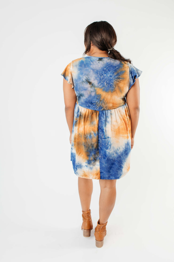 Flutter Sleeve Tie Dye Dress In Blue