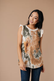 Falling Leaves Textured Tie Dye Top