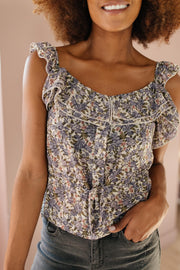 Feminine Floral Top In Plum