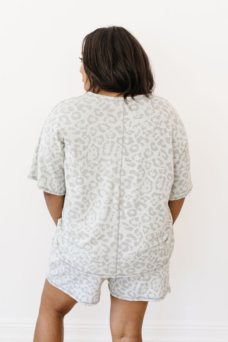 Gray Tone Animal Print Lounge Top