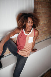 Half & Half Color Block Top In Autumn Sunset