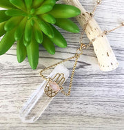 Hamsa Crystal Pendant Necklace