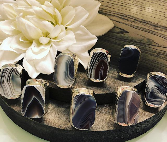 Smooth Agate Hammered Metal Ring
