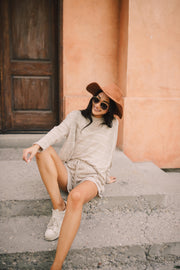 Lightweight Striped Shorts In Taupe