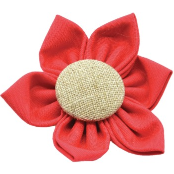 Dog Collar Flower with Gold Button