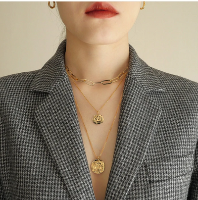 Gold Plated Coin Charm Necklace