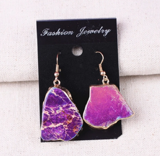 Purple Natural Agate Hook Earrings