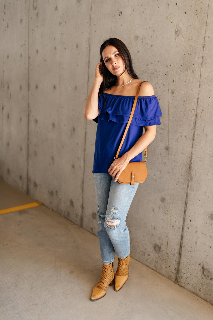 Sexy Señorita Off-Shoulder Top In Blue