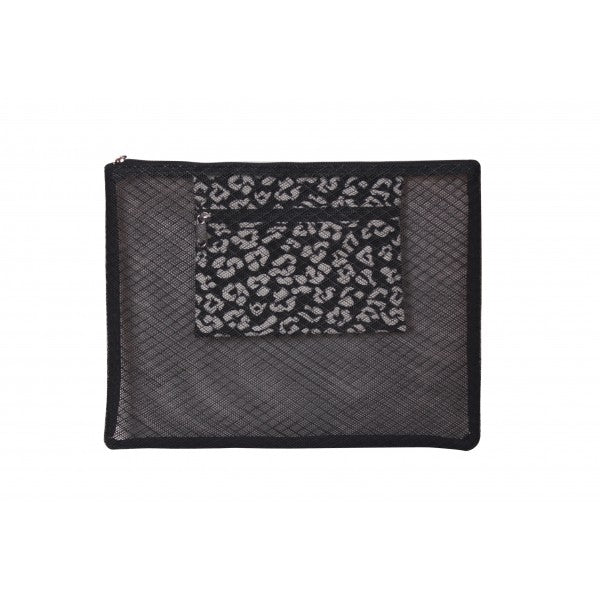 Black Opulence Mesh Leopard Beach Clutch