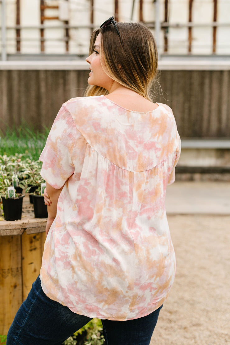 Coral & Blush Watercolor Blouse