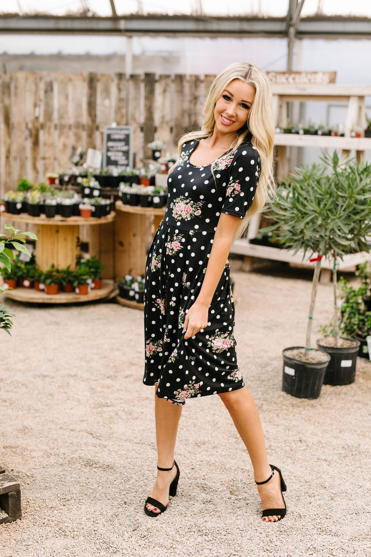 Dots & Roses Dress In Black