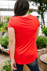 Everyday Yay V-Neck Tee In Red Orange