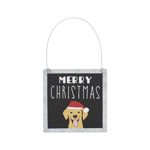 Doggie Christmas Tin Ornament
