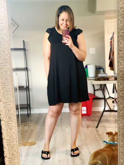 Black Ruffle Pocket Dress