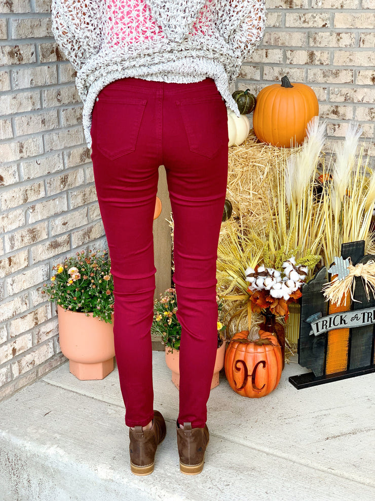 Judy Blue Game Day Skinny Maroon Jeans