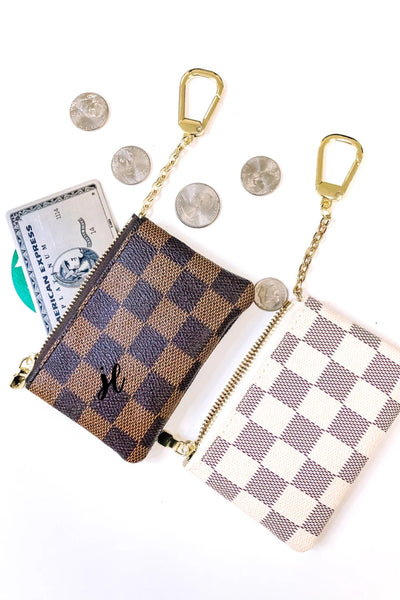 Marco Checkered Keychain Pouch Ivory