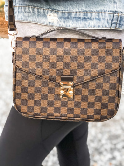 Lacey Checkered Satchel Bag