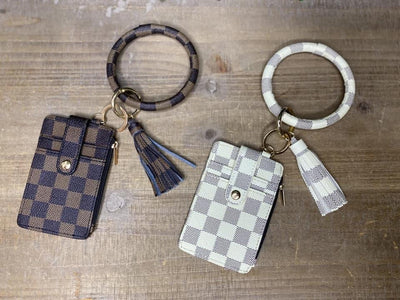 Checkered Oversized Keychain Wallet