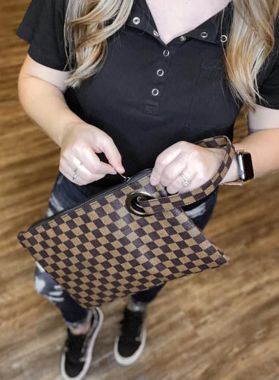 Kaley Checkered Clutch