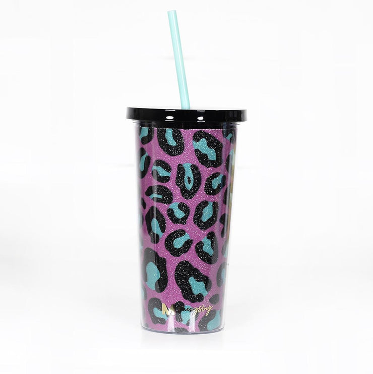 Pink & Teal Leppy Zig Zag Glitter Tumbler with straw