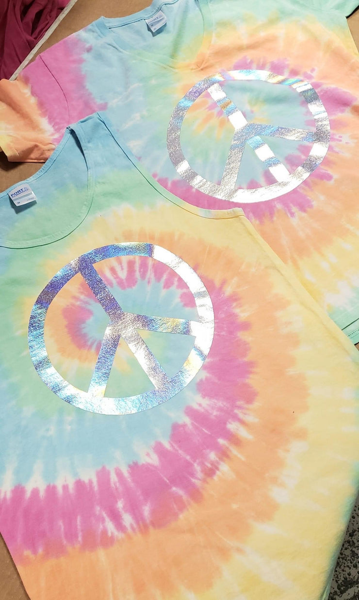 Peace Sign Halographic Tee