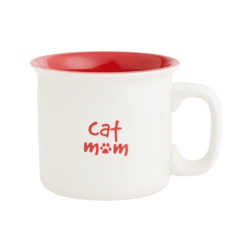 Cat Mom Red Engraved Mug