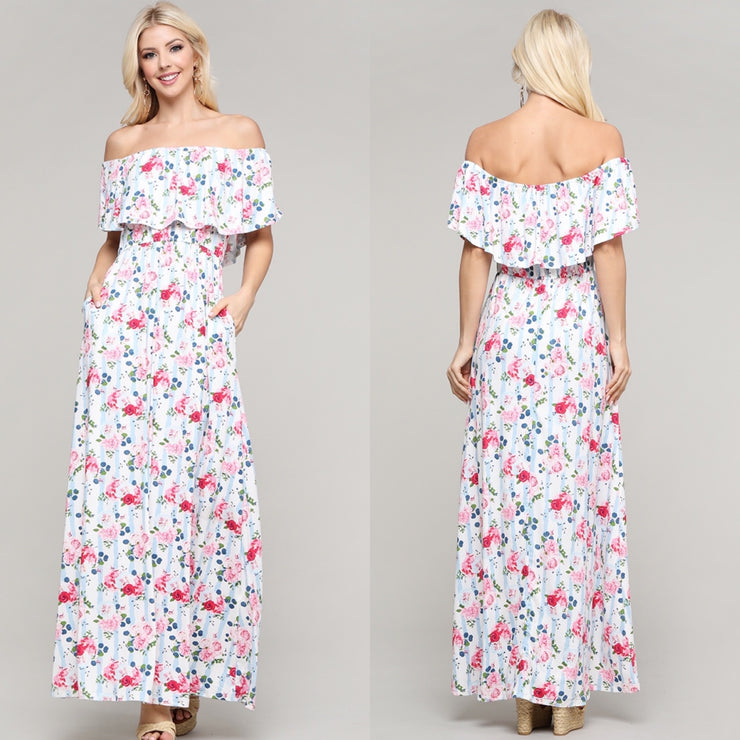Summer Breeze Blue Floral Maxi Dress