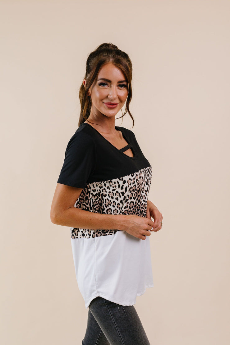 Leopard In The Middle Color Block Top In Black & White