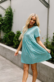 Little Sweetie Floral Dress In Aqua