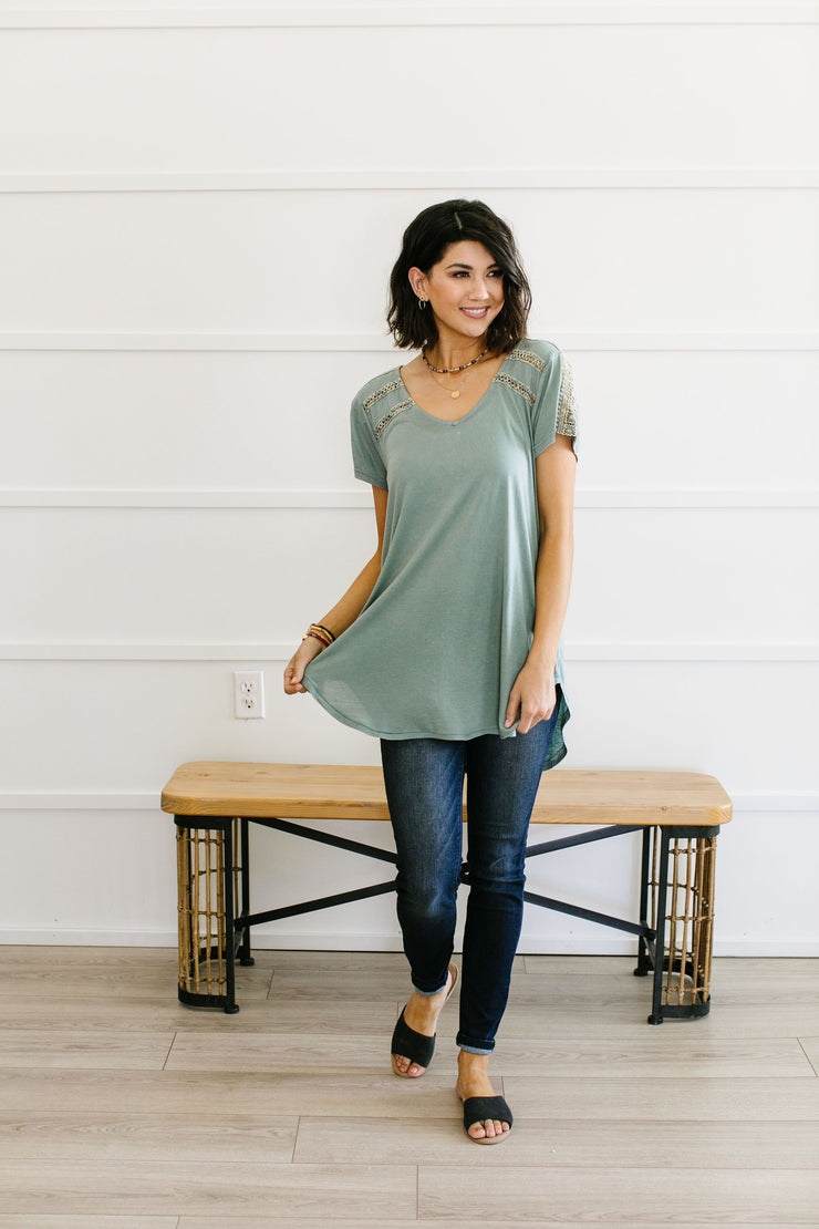 Love The Lace Top In Sage