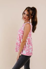 Moody Pink Thermal Tie Dye Top