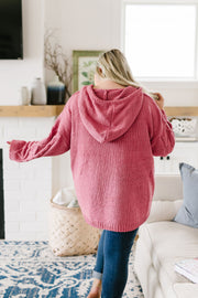 Nantucket Hooded Cable Knit Sweater In Salmon