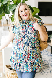Overgrown Garden Blouse In Navy