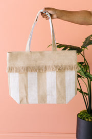 Platinum Stripe Jute Tote Bag
