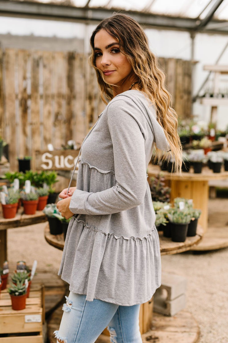 Ruffled Hoodie In Heather Gray