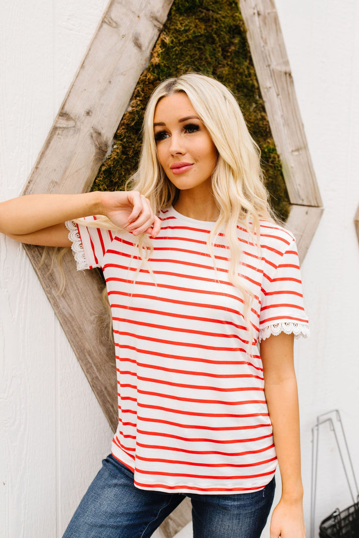 Sails To The Wind Top In Ivory & Red