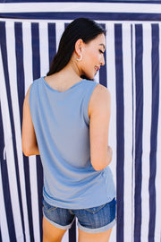 Simple Twist Top In Light Denim