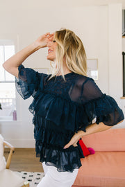 Strategic Ruffles Sheer Blouse
