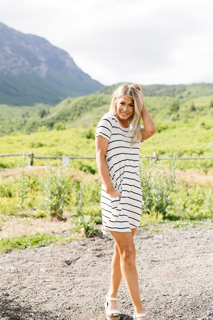 Stripey Babydoll Dress In Ivory